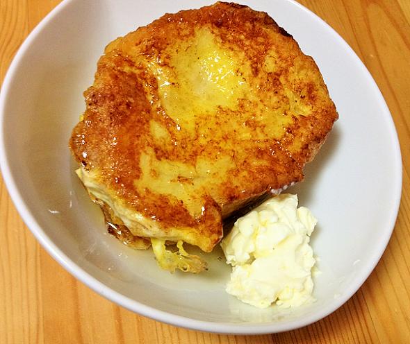 フランスパンのフレンチトーストが美味しい【豆乳使用】
