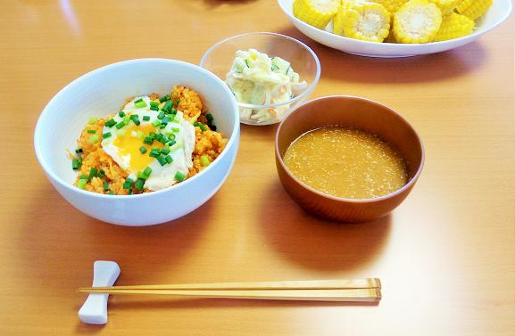 暑い夏には半熟卵をのせた簡単美味しいキムチチャーハン